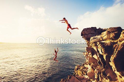 Summer Fun, Cliff Jumping : Stock Photo