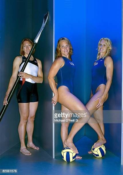 Summer Games Preview Portrait of Team USA rower Michelle Guerette and water polo athletes Heather Petri and goalie Betsey Armstrong