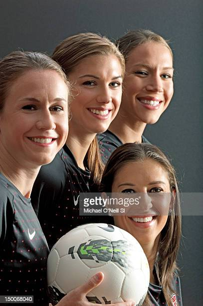 Soccer player Heather O'Reilly Alex Morgan Lauren Cheney and Carli Lloyd pose for the Sports Illustrated Summer 2012 Olympic portfolio on May 13 2012...