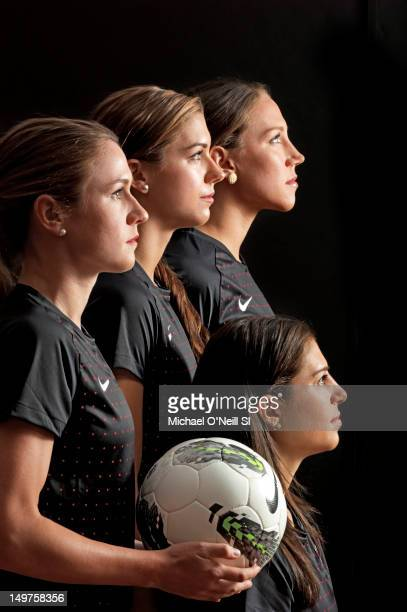 Soccer players Heather O'Reilly Alex Morgan Lauren Cheney and Carli Lloyd poses for the Sports Illustrated Summer 2012 Olympic portfolio on May 13...