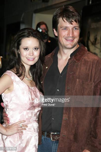 Summer Glau and Nathan Fillion during 'Serenity' London Premiere Arrivals at Odeon West End in London United Kingdom