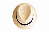 Summer hat, straw woman's hat with black ribbon isolated on white background with copy space, full frame horizontal composition