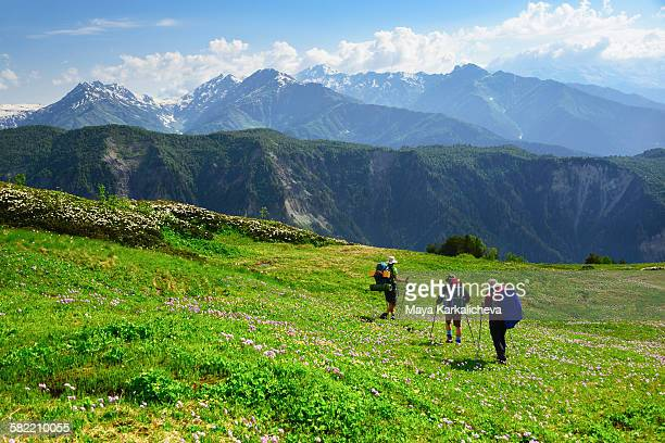Summer hiking in Caucasus mountain