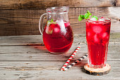 Summer iced drink - tea or juice with ice and mint. On rustic wooden table, copy space