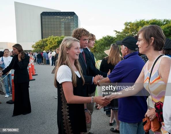 Summer Kennedyage 14 and Max Kennedy Jr age 15 children of Max Kennedy greeting people waiting in the 3 plus hour line to pay respects to Senator...