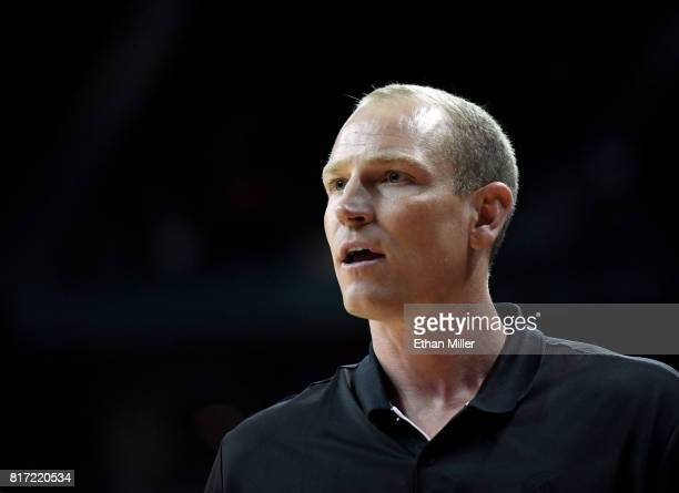 Summer Leage coach Jim Moran of the Portland Trail Blazers looks on during the championship game of the 2017 Summer League against the Los Angeles...