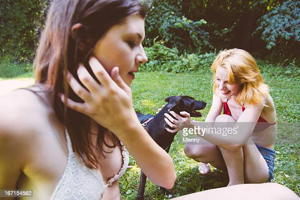 Summer Leisure, Playing with dog