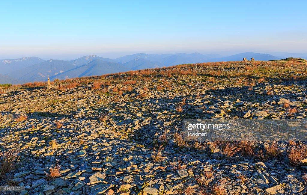 Summer morning mountain view (Carpathian, Ukraine). : Stock Photo