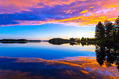 Summer night sunset from Sotkamo, Finland.