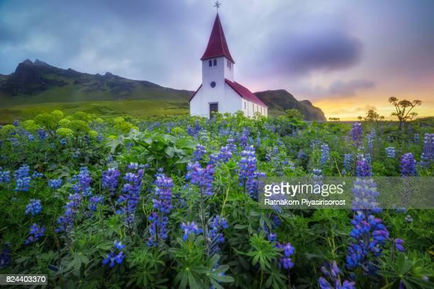 Summer of Vik Church in Sunrise Scene