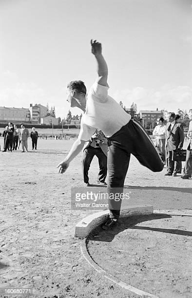 Summer Olympics 1952 Helsinki En Finlande à Helsinki en juillet 1952 lors des Jeux Olympiques d'été lors de l'épreuve du lancer du poids Parry...