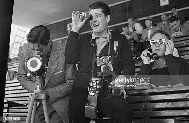 Summer Olympics 1952 Helsinki En Finlande à Helsinki en juillet 1952 lors des Jeux Olympiques d'été à la tribune de la presse de gauche à droite le...