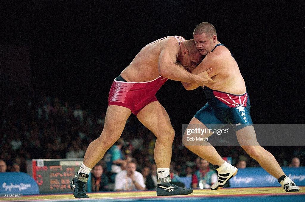 Summer Olympics USA Rulon Gardner in action vs RUS Alexander Karelin during GrecoRoman match Sydney AUS 9/27/2000