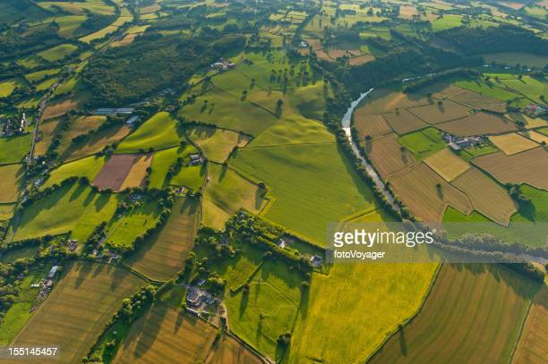 Summer patchwork landscape fields aerial view