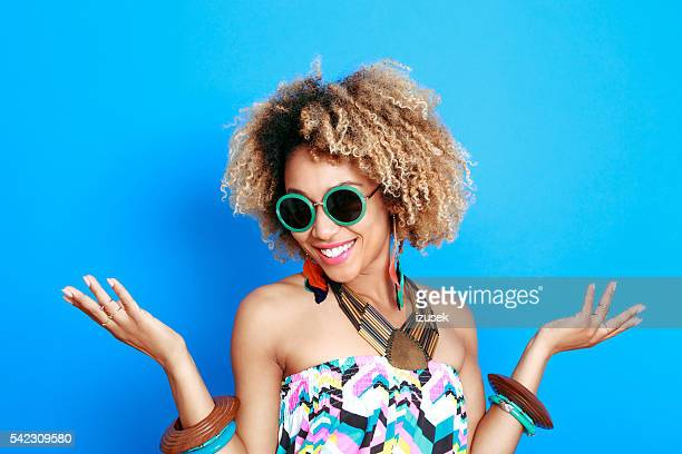 Summer portrait of beautiful afro young woman