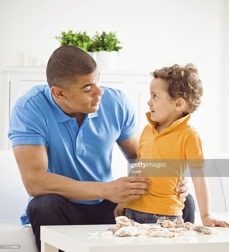 Summer portrait of father and son : Stock Photo