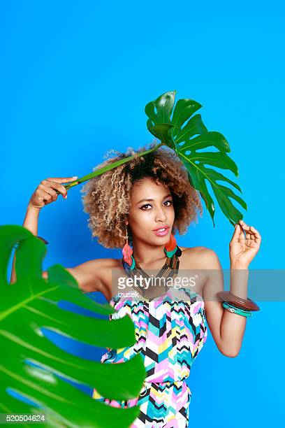 Summer portrait of sensual afro american young woman