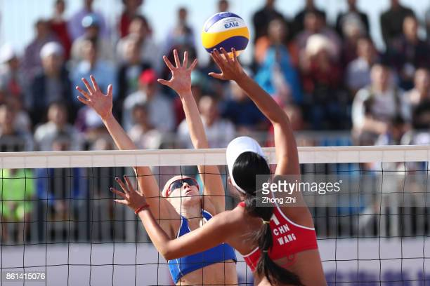 Summer Ross of the United States in action with Brooke Sweat of the United States during the match against Wang Fan and Xia Xinyi of China on Day 5...