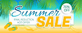 Summer sale advertising poster in a maritime color. Vector illustration with isolated elements