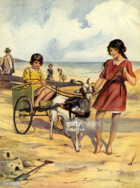seaside Goat harnessed to a small cart with girl being pulled along the beach Early 1920s illustration Artist FIS
