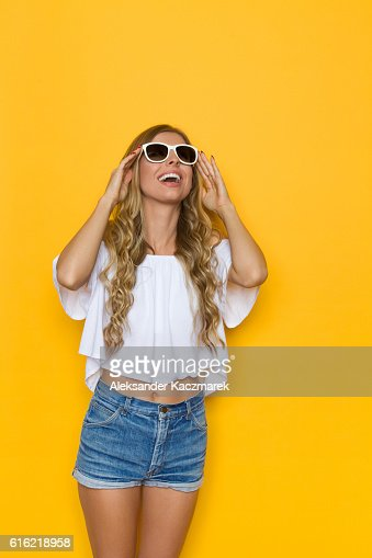 Summer Slim Girl Looking Up : Stock Photo