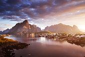 summer sunrise, Reine Village, Lofoten Islands, Norway