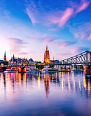 Summer Sunset over the Cathedral (Dom) of Frankfurt am Main