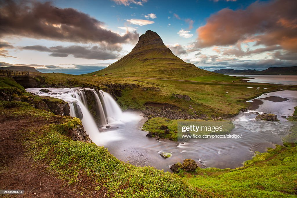 Summer sunset with Kirkjufell moutain, Iceland