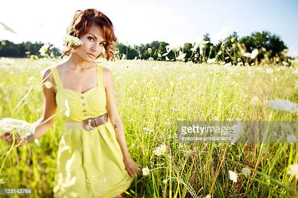 summer sunset young beautiful female outdoors