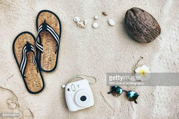 summer time fun, beach flat lay, tourism, vacation background, white sand beach Maldives