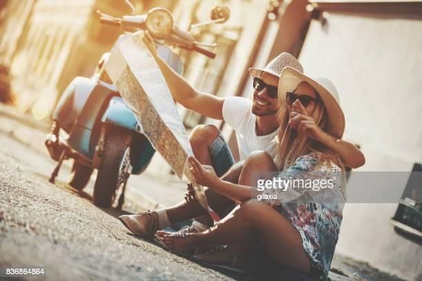 Viaje de verano en una moto scooter.