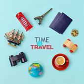 Summer vacation banner design. Travel and tourism concept. Top view. Flat lay