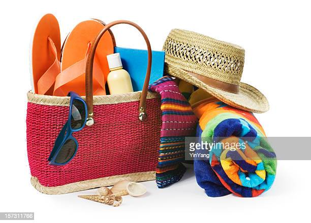 Summer Vacation Beach Bag with Supplies Isolated on White Background