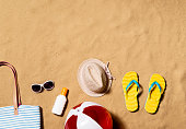 Summer vacation composition with pair of yellow flip flop sandals, hat, sunglasses, sunscreen and other stuff on a beach. Sand background, studio shot, flat lay. Copy space.