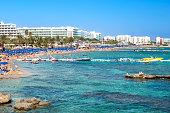 Summer vacation in Cyprus island. Protaras ,popular beach Fig tree bay.