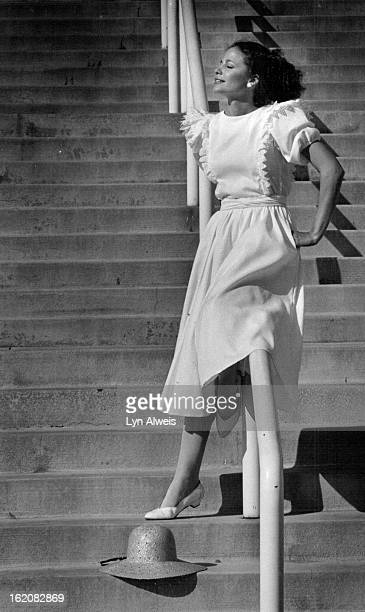 JUN 17 1982 Summer White Dresses Fashion West Eve Hodges Eyelet ruffles lend the effect of a pinafore top on Belle Franceé¦s cotton pique dress At...