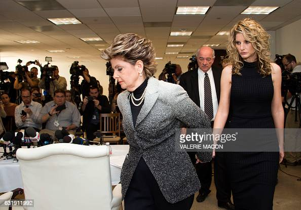 Summer Zervos arrives for a press conference with her attorney Gloria Allred to announce the filing of a lawsuit against Presidentelect Donald Trump...