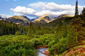 Beautiful blue sky and clouds day in Rocky Mountain National Park in the summer season