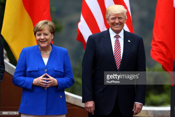 G7 Summit 2017 in Italy The Germany Chancellor Angela Merkel with the President of the United States of America Donald Trump during the welcome...