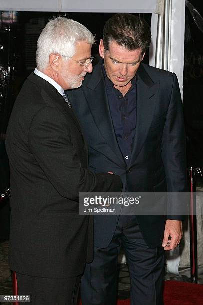 Summit Entertainment's President Rob Friedman and Actor Pierce Brosnan attend the premiere of 'Remember Me' at the Paris Theatre on March 1 2010 in...