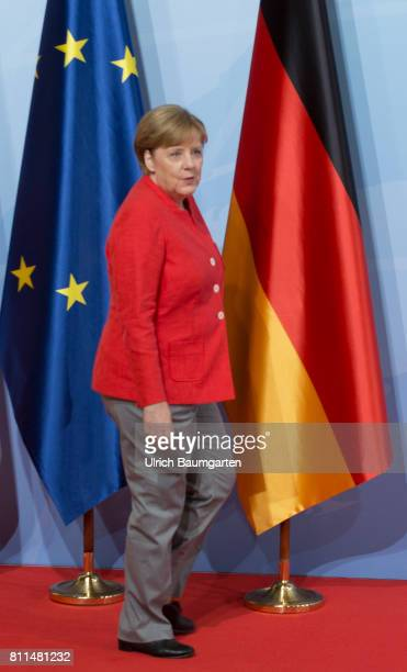 G20 summit in Hamburg Federal Chancellor Angela Merkel and the flags of Germany and the EU