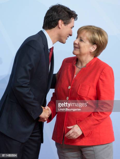 G20 summit in Hamburg Warm welcome Justin Trudeau Prime Minister of Canada and Federal Chancellor Angela Merkel
