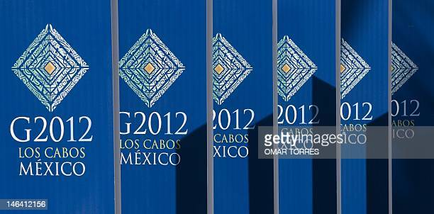 Summit logos at the Main Press Room hotel in San Jose del Cabo state of Baja California Sur Mexico on June 15 2012 The June 1819 summit of the Group...