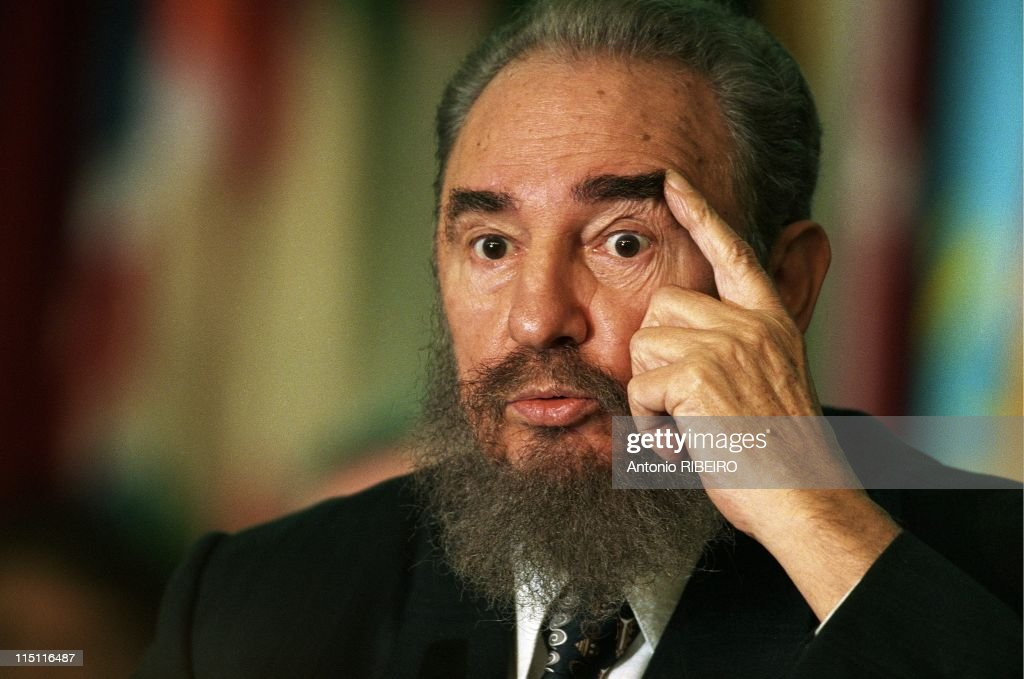 FAO summit, portraits of <a gi-track='captionPersonalityLinkClicked' href=/galleries/search?phrase=Fidel+Castro&family=editorial&specificpeople=67210 ng-click='$event.stopPropagation()'>Fidel Castro</a> in Rome, Italy on November 18, 1996.
