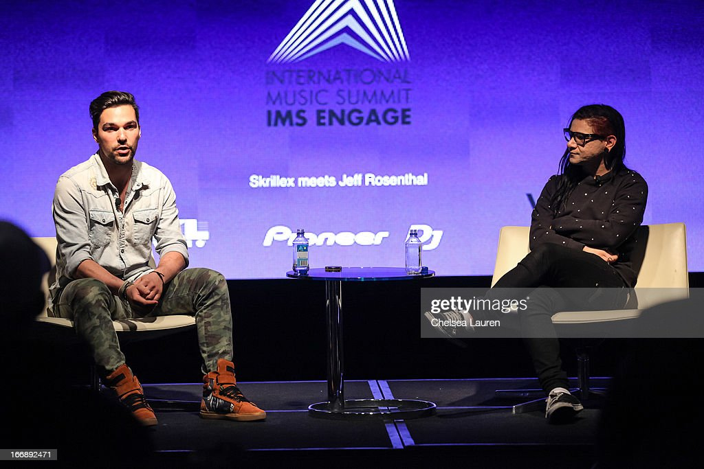Summit series founder Jeff Rosenthal (L) and DJ Skrillex attend IMS Engage in partnership wtih W hotels worldwide at W Hollywood on April 17, 2013 in Hollywood, California.