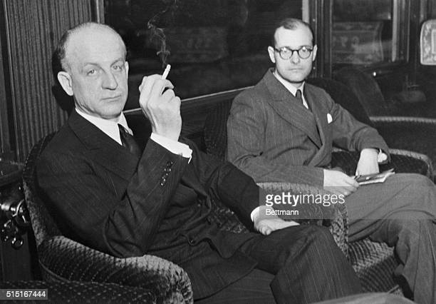 Sumner Welles US Undersecretary of State shown with Mr Kennan attache at the US Embassy at Berlin during Welles' European tour