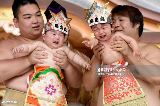Sumo wresters hold up crying babies during a 'Babycry Sumo' event at the KamegaikeHachiman Shrine in Sagamihara Kanagawa prefecture on May 14 2017...