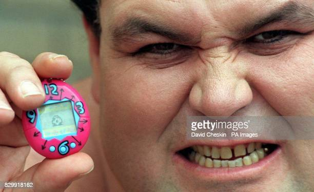A sumo wrestler at London's Brent Cross ToysRUs this morning where he helped launch the Tamagotchi virtual pet onto the British market as part of...