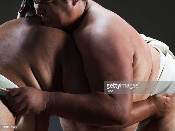 Sumo Wrestlers During Match