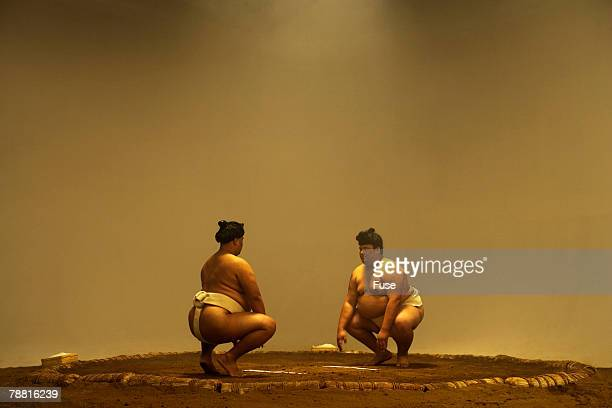 Sumo Wrestlers in Ring